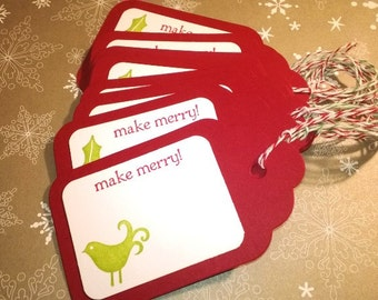 Christmas Tags, Holiday, Cardinal Tags, Mistletoe Berry Tags - Set of 12