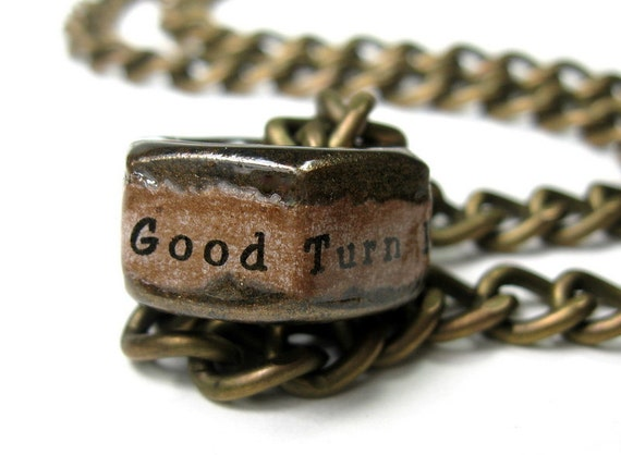 One Good Turn Deserves Another, Industrial Chic, Hex Nut Necklace, Antiqued Brass, Inspirational, Mens Accessories, Metal, Rugged, Unisex