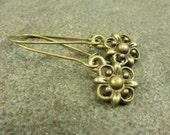 Flower Earrings Antiqued Brass Kidney Earwire