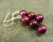 Cabernet Berry Pearl Earrings Freshwater