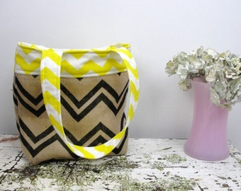 Yellow chevron Burlap tote bag, chevron tote bag, chevron project bag, burlap chevron, chevron purse, chevron diaper bag