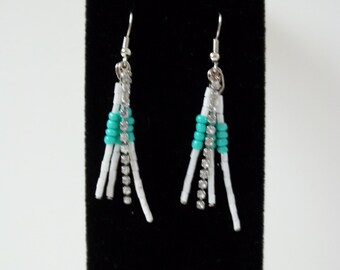 Turqouise and Mother of Pearl Dangle Earrings