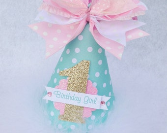 Mint Pink and Gold Birthday Party Hat with Polka Dots Robins Egg Blue Pale Aqua light Pink