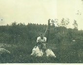 Sitting by the Well Water Pump Girls Boy Hug Summer 1920s Vintage Black and White Photo Photograph