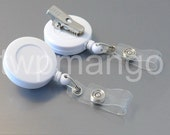 100 Retractable Badge Holder... SWIVEL-BACK... Alligator Clip... White... ID Card Reel... K41-100
