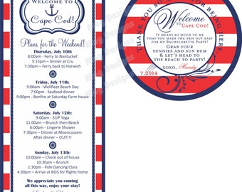 Beach Wedding Nautical Tags for Beach Wedding Welcome gifts Red white and bue
