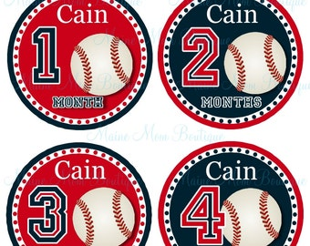 FREE GIFT, PERSONALIZED Baby Monthly Stickers Month Baby Sticker Sports  Baseball Milestone Sticker Baby Gift