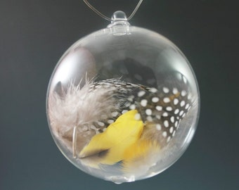 Blown Glass Christmas Ornament - Meaningful Gift - Inspirational Gift - Feather Ornament - Handblown Christmas Ball - Bird Gift
