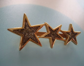 Vintage 'Baby You're a Star' 3 Star Brooch with Glitter Inserts- Excellent!