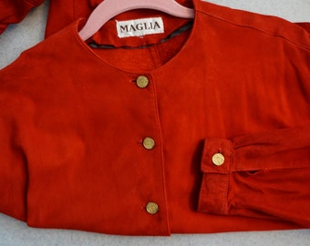 Vintage 1980's Maglia Fine Leathers Flaming Red Suede Button Front Shirt/Jacket Size 10 Medium/Large