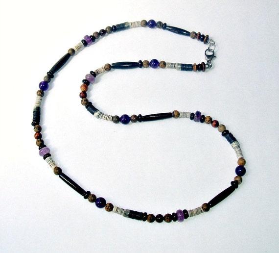 s purple amethyst beaded necklace by earthoceanfiremen