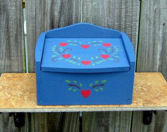Recipe Box, Painted Wood, Blue, Folk Art, Red Hearts, Kitchen Decor, Recipe Cards, Primitive, Heart Wreath, Hand Painted