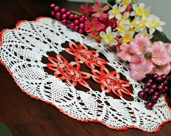 Pretty White and pink three flowers   Crochet  Doily