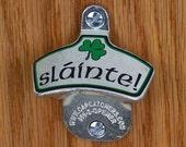 "Irish Beer Gift, Wall Mount Bottle Opener, Bottle Cap Catcher - Irish Shamrock, ""Slainte"""