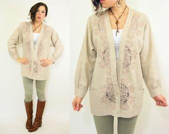 Vintage 80's Oatmeal Lace Doily Cutwork Cardigan Jacket / Deep V Neckline