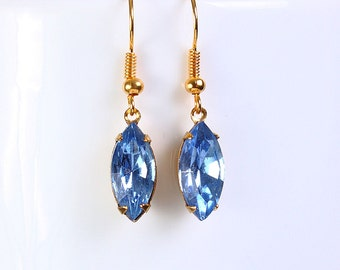 Estate style hollywood blue glass dangle earrings READY to ship (770) - Flat rate shipping