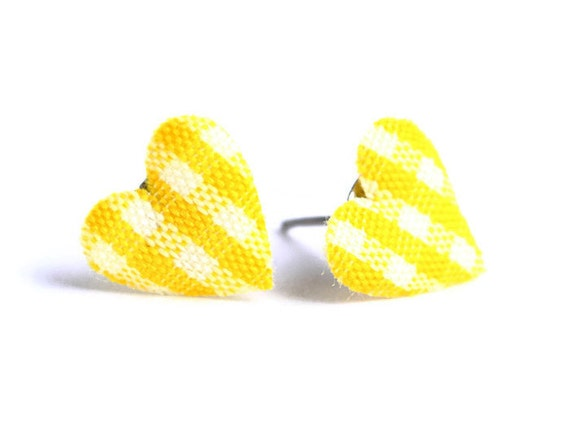Yellow and white plaid padded heart fabric stud earrings (446) - Flat rate shipping