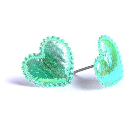 Green emerald shiny iridescent heart fabric hypoallergenic stud earrings READY to ship (346) - Flat rate shipping