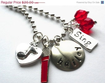 Hand Stamped I LOVE TO Sing Personalized Charm Necklace - #M115
