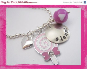 Hand Stamped Jewelry - I LOVE SWEETS - Personalized  Necklace for Children #sw78
