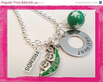 Girls Personaized Necklace - Hand Stamped with a name Two Peas in a Pod FRIENDS Necklace #Sis 88