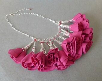 Hot Pink Fabric Flower Statement Necklace // Silver Chain // Swarovski Crystals// Romantic