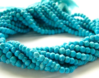 Genuine Blue Turquoise faceted rondelles - 13.5 inch strand (3m30a)