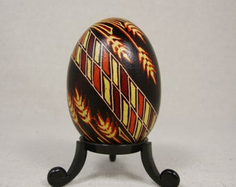 Wheat, Red Leaves, Fall Harvest, Autumn, Harvest, Orange Country, Pysanky, Red Easter Egg, Thanksgiving Gift, Ukrainian Pysanky - F47C