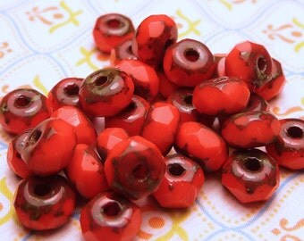 Bright Red Picasso Faceted Rondelles 3x5mm - 20pc