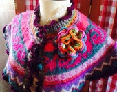 Cozy Capelet Upclycled Wool Sweater with Crocheted Ruffle and removable Floral Brooch