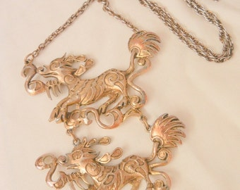 Large Asian Double Qilin good omen Mystical dragon Necklace