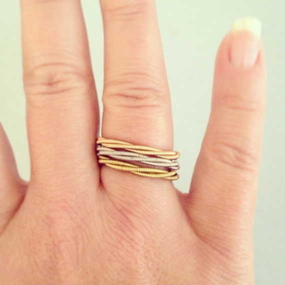 recycled guitar string stacking ring in your choice of. Black Bedroom Furniture Sets. Home Design Ideas