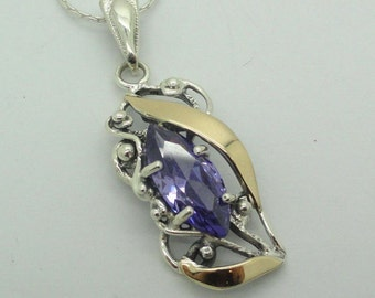 New 9K Yellow Gold& 925 Sterling Silver Lavender stone filigree pendant (sp1990)