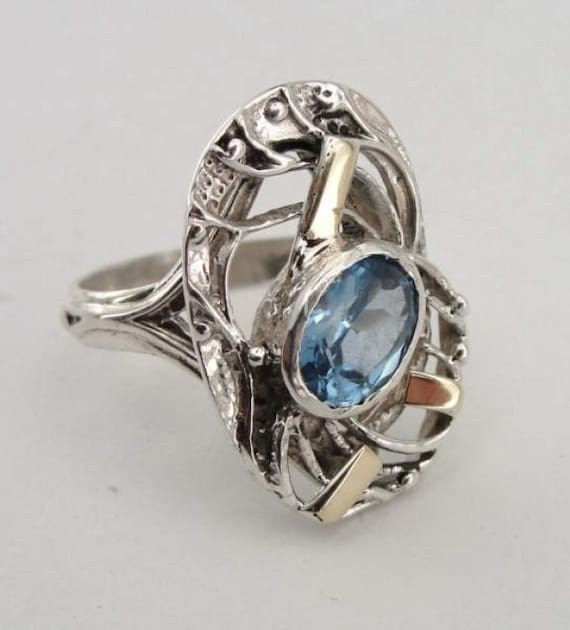 Handcrafted 9K Gold Sterling Silver Blue Topaz Ring size 6 (s r1940)