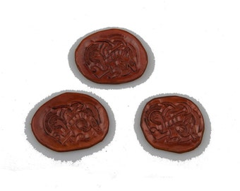 Small celtic dog brown leather embossed and carved piece applique larp reenactment sca