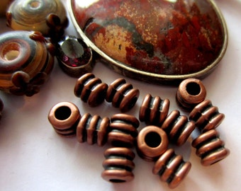 30 Copper beads sprial spacers jewelry making supply 4mm x 4mm F986 large hole beads-W3