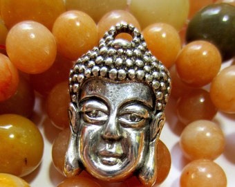 10 Buddha charms Antique silver pendant 26mm x 18mm F69 zen jewelry supply