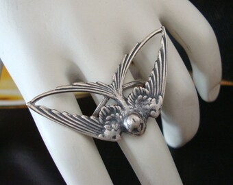 Bird Ring, Free to Fly, Handmade Metal Bonded, NOT Glued Together, Flight Into Spring, Quality Sterling Silver Finish, Adjustable, USA