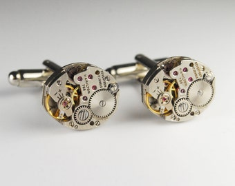 Steampunk Cufflinks Vintage Hamilton 768 Watch Movement Mens Gear Cuff Links by Steampunk Vintage Design