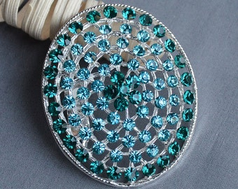 Rhinestone Brooch Teal Blue Crystal Brooch Wedding Brooch Bouquet Hair Comb Shoe Clip Wedding Accessories Supply Aqua BR319