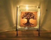 Night Light Tree of Life Rust Upcycled handmade glassblock lamp FREE SHIPPING for wedding gift, kitchen lamp, Thanksgiving Halloween decor