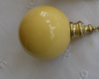 Pottery Ball Ceiling Fan Pull - Corn Yellow - Handmade in the USA - Brass or Nickel Hardware