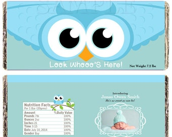 chocolate candy bar label customize Printable birth announcement DIGITAL YOUR PHOTO