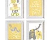 typography quote, gray white yellow, emotional love art prints anniversary gift, children room  decor, baby nursery art, love sentiments