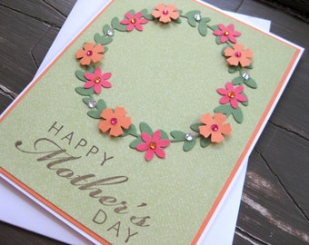 Happy Mother's Day with Orange and Pink Floral Wreath - Handstamped Mother's Day Card