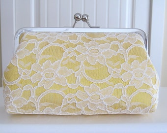Bridal Silk And Lace Clutch Yellow, Wedding Clutch, Lace Clutch, Bridal Clutch, Bridesmaid Clutches