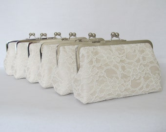 SALE 20% OFF, Bridal Silk And Lace Clutch Set Of 6 ivory,Wedding Bags And Purses,Bridesmaid Clutches,Bridal Accessories
