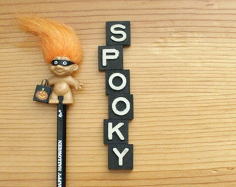 spooky halloween decor vintage game piece letters typography