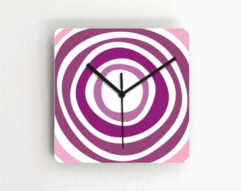 Purple Circles Geometric Modern Wall clock