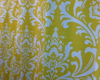 Custom made designer shower curtain Ozborne damask yellow and white cotton